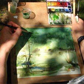 Randonnée et aquarelle